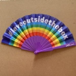 Rainbow plastic fan with promotional logo