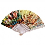 S shape plastic frame satin fabric fan