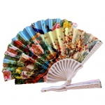 Peacock flower design plastic fan